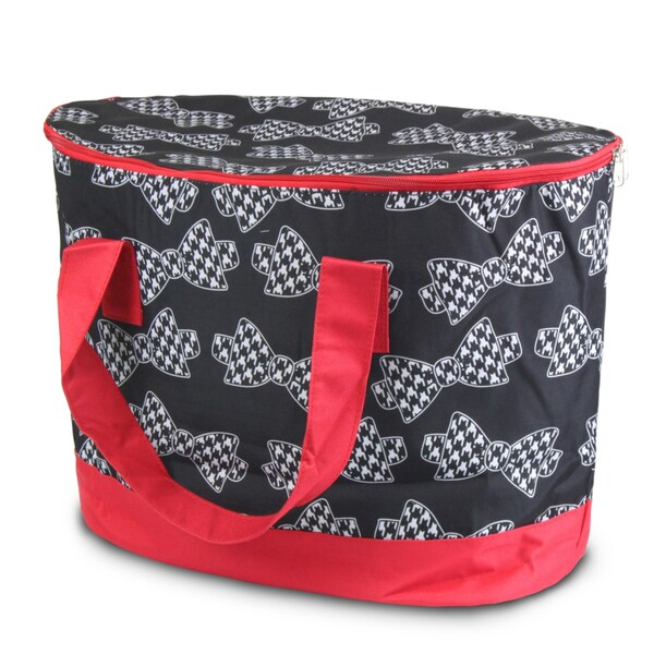 Zodaca Hounds tooth Bows Large Pinic Travel Outdoor Camping Party Food Drink Water Storage Zip Cooler Bag
