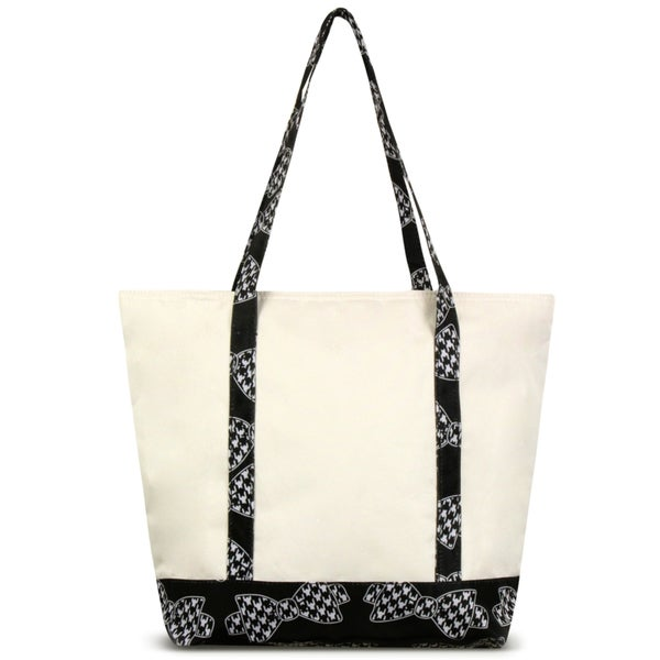 Zodaca Hounds Tooth Bows Stylish Small Pinic Outdoor Camping Party Food Drink Storage Insulated Cooler Tote Bag