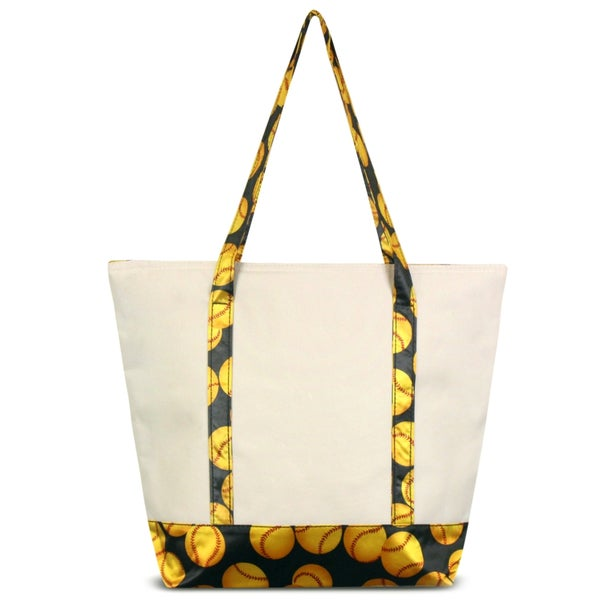 Zodaca Yellow Softball Stylish Small Pinic Outdoor Camping Party Food Drink Storage Insulated Cooler Tote Bag