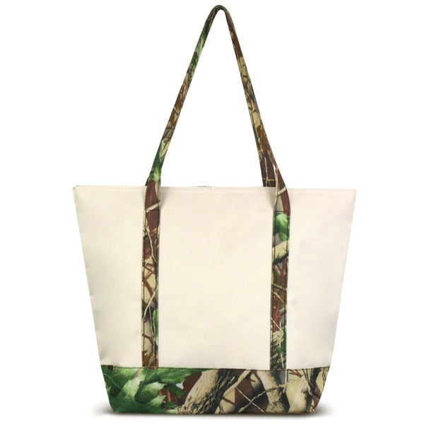 Zodaca Camo with Pink Trim Stylish Small Pinic Outdoor Camping Party Food Drink Storage Insulated Cooler Tote Bag