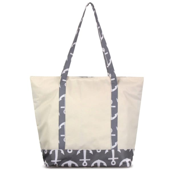 Zodaca Grey Anchors with Black Trim Small Pinic Outdoor Camping Party Food Drink Storage Insulated Cooler Tote Bag