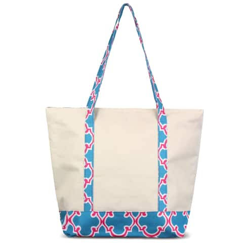 Zodaca Blue Quatrefoil Stylish Small Pinic Outdoor Camping Party Food Drink Storage Insulated Cooler Tote Bag