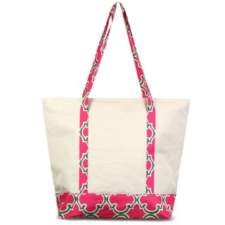 Zodaca Pink Quatrefoil Stylish Small Pinic Outdoor Camping Party Food Drink Storage Insulated Cooler Tote Bag