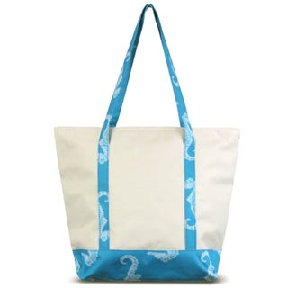 Zodaca Blue Seahorse Stylish Small Pinic Outdoor Camping Party Food Drink Storage Insulated Cooler Tote Bag