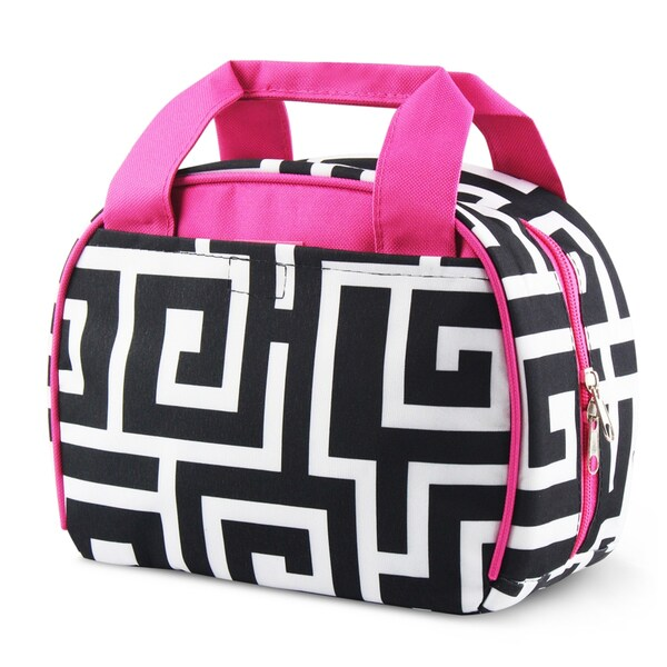 Zodaca Black Greek Key with Pink Trim Small Reusable Insulated Work School Lunch Tote Carry Storage Zipper Cooler Bag