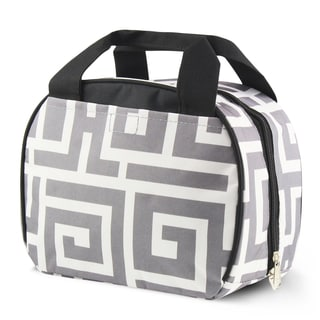 Zodaca Grey Greek Key with Black Trim Small Reusable Insulated Work School Lunch Tote Carry Storage Zipper Cooler Bag