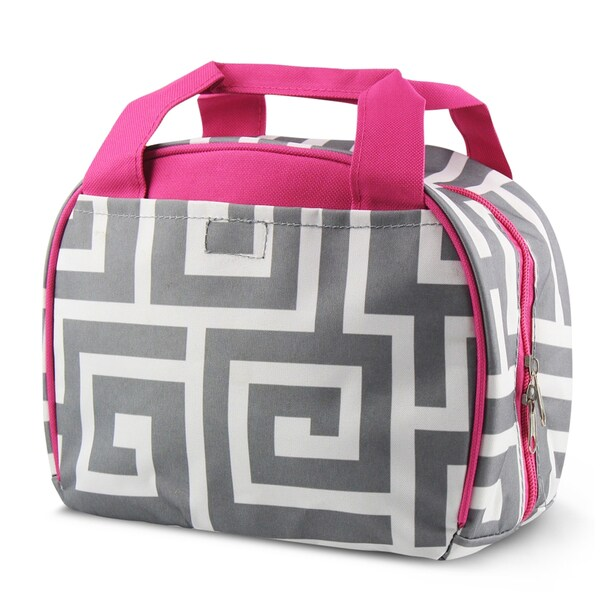 Zodaca Grey Greek Key with Pink Trim Small Reusable Insulated Work School Lunch Tote Carry Storage Zipper Cooler Bag