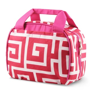 Zodaca White/ Pink Greek Key Stylish Small Reusable Insulated Work School Lunch Tote Carry Storage Zipper Cooler Bag