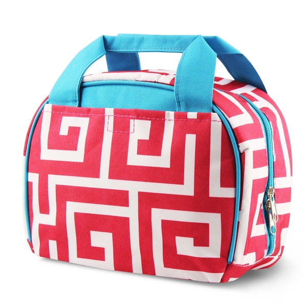 Zodaca Pink Greek Key with Blue Trim Small Reusable Insulated Work School Lunch Tote Carry Storage Zipper Cooler Bag