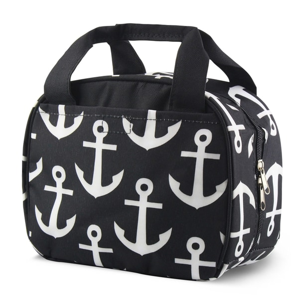 Zodaca Black Anchors with Black Trim Small Reusable Insulated Work School Lunch Tote Carry Storage Zipper Cooler Bag