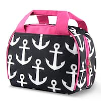 Zodaca Black Anchors with Pink Trim Small Reusable Insulated Work School Lunch Tote Carry Storage Zipper Cooler Bag