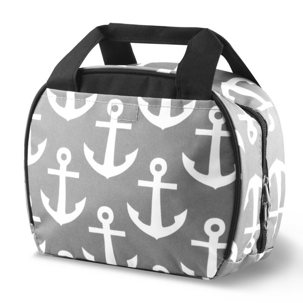 Zodaca Grey Anchors with Black TrimSmall Reusable Insulated Work School Lunch Tote Carry Storage Zipper Cooler Bag