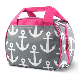 Zodaca Grey Anchors with Pink Trim Small Reusable Insulated Work School Lunch Tote Carry Storage Zipper Cooler Bag