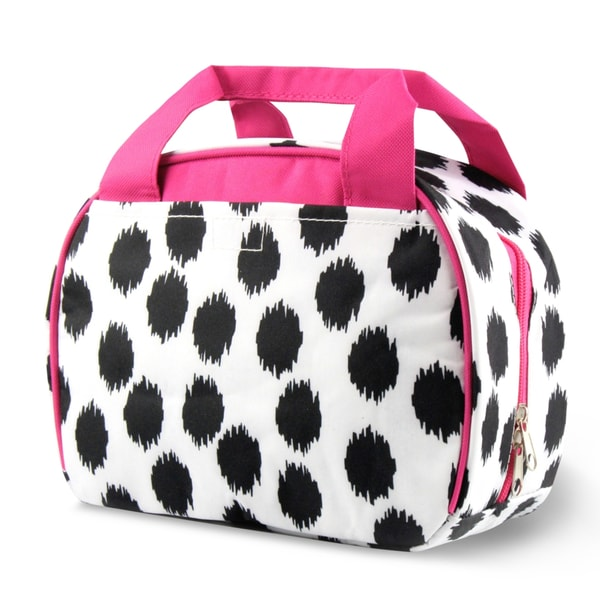 Zodaca Black Dots with Pink Trim Small Reusable Insulated Work School Lunch Tote Carry Storage Zipper Cooler Bag