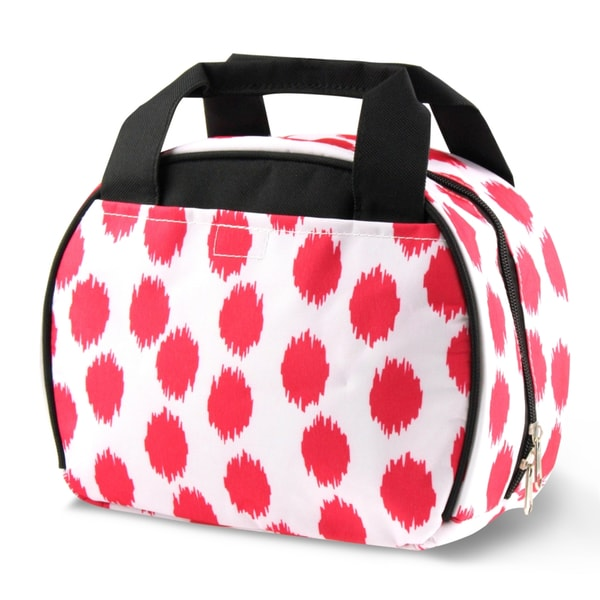 Zodaca Pink Dots with Black Trim Small Reusable Insulated Work School Lunch Tote Carry Storage Zipper Cooler Bag