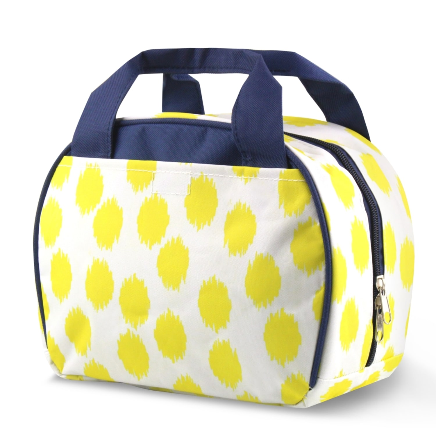 Zodaca Yellow Dots with Blue Trim Small Reusable Insulate...