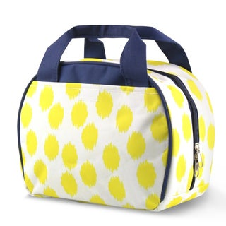 Zodaca Yellow Dots with Blue Trim Small Reusable Insulated Work School Lunch Tote Carry Storage Zipper Cooler Bag