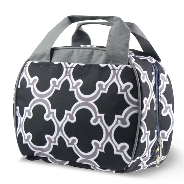 Zodaca Round Black Quatrefoil Stylish Small Reusable Insulated Work School Lunch Tote Carry Storage Zipper Cooler Bag