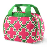 Zodaca Round Pink Quatrefoil Stylish Small Reusable Insulated Work School Lunch Tote Carry Storage Zipper Cooler Bag