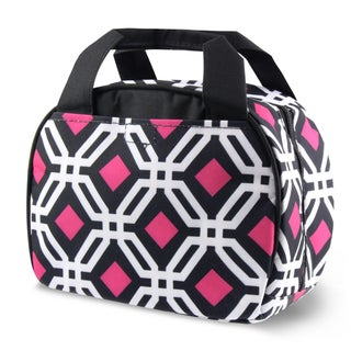 Zodaca Round Black Graphic Stylish Small Reusable Insulated Work School Lunch Tote Carry Storage Zipper Cooler Bag