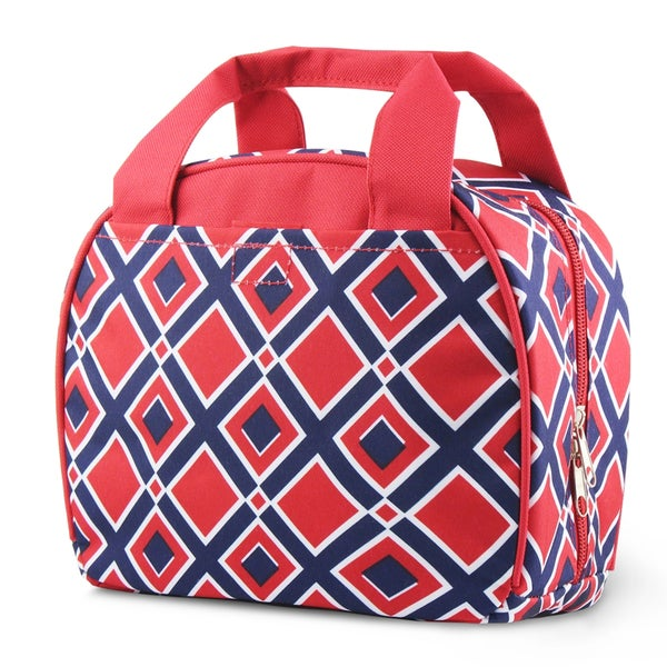 Zodaca Times Square Red Stylish Small Reusable Insulated Work School Lunch Tote Carry Storage Zipper Cooler Bag
