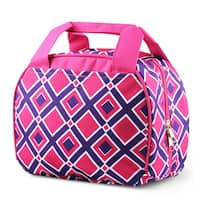 Zodaca Times Square Pink Stylish Small Reusable Insulated Work School Lunch Tote Carry Storage Zipper Cooler Bag