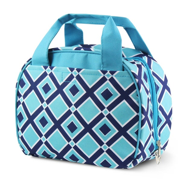 Zodaca Times Square Turquoise Stylish Small Reusable Insulated Work School Lunch Tote Carry Storage Zipper Cooler Bag