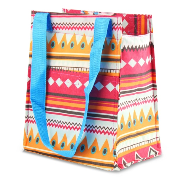 Zodaca Aztec with Blue Trim Leak Resistant Reusable Insulated Lunch Tote Carry Storage Organizer Zip Cooler Bag