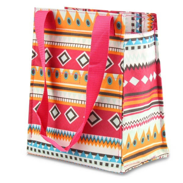 Zodaca Aztec with Pink Trim Leak Resistant Reusable Insulated Lunch Tote Carry Storage Organizer Zip Cooler Bag