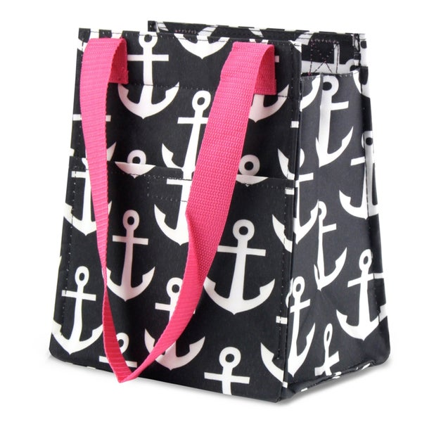 Zodaca Black Anchors with Pink Trim Leak Resistant Reusable Insulated Lunch Tote Carry Organizer Zip Cooler Bag