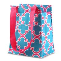 Zodaca Blue Quatrefoil Leak Resistant Reusable Insulated Lunch Tote Carry Storage Organizer Zip Cooler Bag