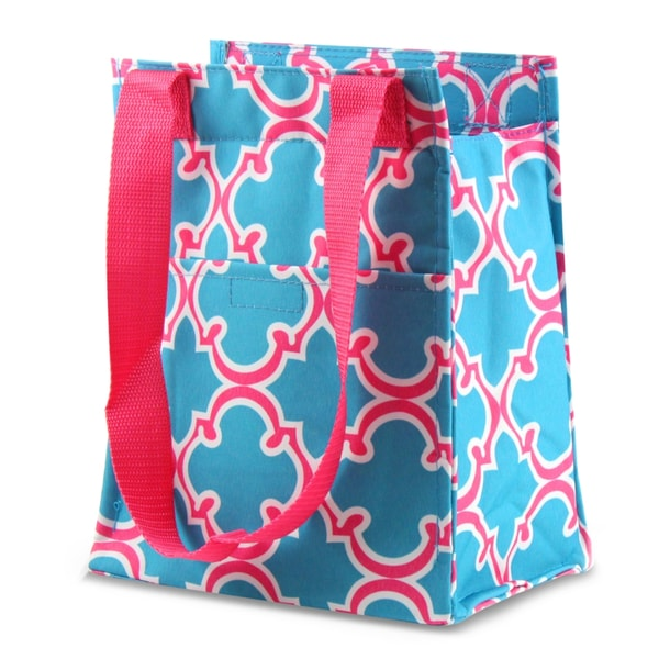 Zodaca Blue Quatrefoil Leak Resistant Reusable Insulated Lunch Tote Carry Storage Organizer Zip Cooler Bag