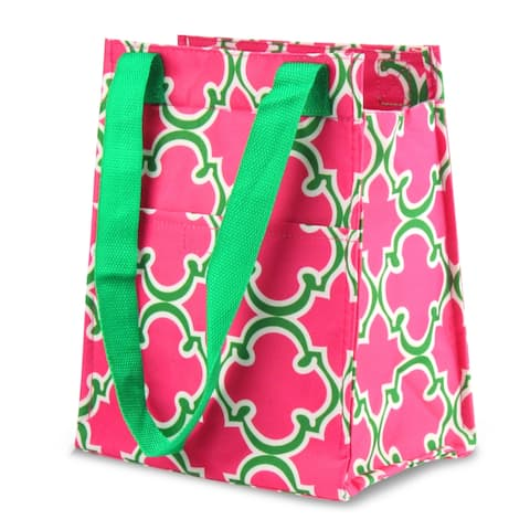 Zodaca Pink Quatrefoil Leak Resistant Reusable Insulated Lunch Tote Carry Storage Organizer Zip Cooler Bag