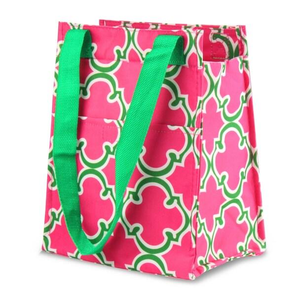 Zodaca Pink Quatrefoil Leak Resistant Reusable Insulated Lunch Tote Carry Storage Organizer Zip Cooler Bag