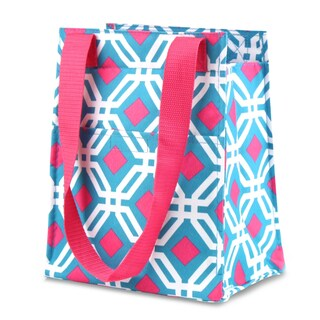 Zodaca Blue Graphic Leak Resistant Reusable Insulated Lunch Tote Carry Storage Organizer Zip Cooler Bag