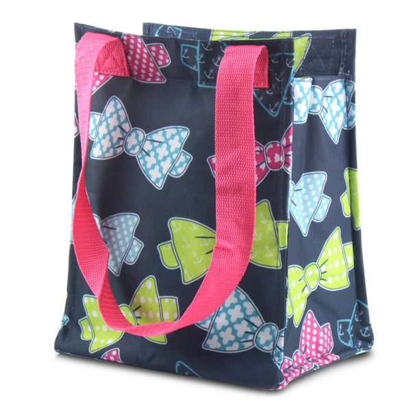 Zodaca Colorful Bows Leak Resistant Reusable Insulated Lunch Tote Carry Storage Organizer Zip Cooler Bag