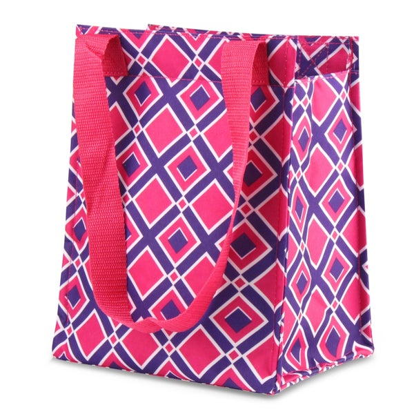 Zodaca Times Square Pink Leak Resistant Reusable Insulated Lunch Tote Carry Storage Organizer Zip Cooler Bag