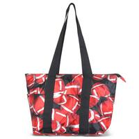 Zodaca Red/ Black Football Large Reusable Insulated Leak Resistant Lunch Tote Carry Organizer Zip Cooler Storage Bag