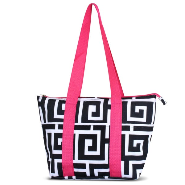 Zodaca Black Greek Key w Pink TrimLarge Reusable Insulated Leak Resistant Lunch Tote Carry Organizer Zip Cooler Bag