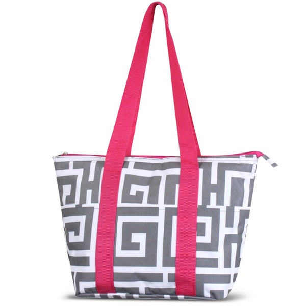 Zodaca Grey Greek Key with Pink TrimLarge Reusable Insulated Leak Resistant Lunch Tote Carry Organizer Zip Cooler Bag