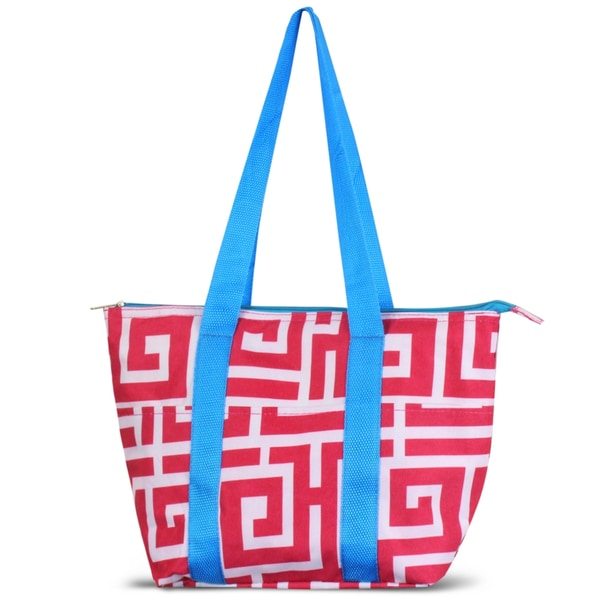 Zodaca Pink Greek Key with Blue TrimLarge Reusable Insulated Leak Resistant Lunch Tote Carry Organizer Zip Cooler Bag