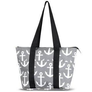 Zodaca Grey/ White Anchors with Black TrimLarge Reusable Insulated Leak Resistant Lunch Tote Carry Zip Cooler Bag