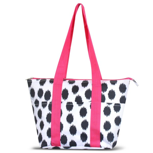 Zodaca Black Dots with Pink Trim Large Reusable Insulated Leak Resistant Lunch Tote Carry Organizer Zip Cooler Bag