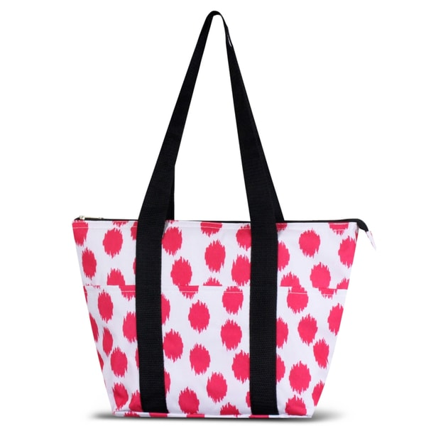 Zodaca Pink Dots with Black Trim Large Reusable Insulated Leak Resistant Lunch Tote Carry Organizer Zip Cooler Bag