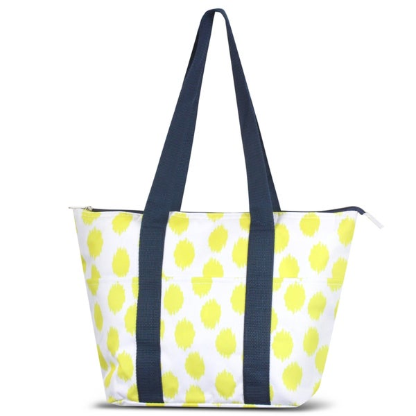 Zodaca Yellow Dots with Blue Trim Large Reusable Insulated Leak Resistant Lunch Tote Carry Organizer Zip Cooler Bag
