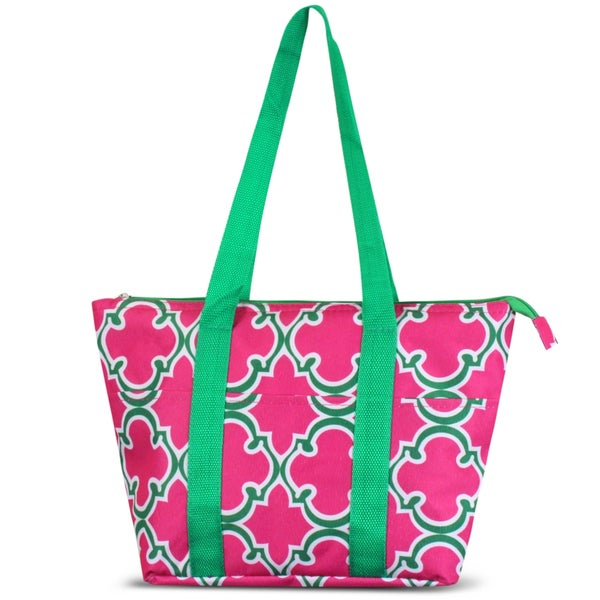 Zodaca Pink Quatrefoil Large Reusable Insulated Leak Resistant Lunch Tote Carry Organizer Zip Cooler Storage Bag