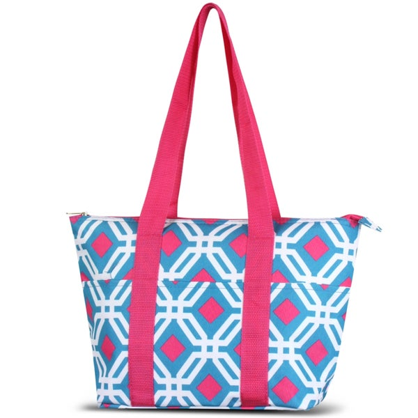 Zodaca Blue Graphic Large Reusable Insulated Leak Resistant Lunch Tote Carry Organizer Zip Cooler Storage Bag