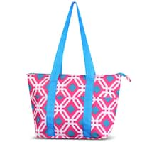 Zodaca Pink Graphic Large Reusable Insulated Leak Resistant Lunch Tote Carry Organizer Zip Cooler Storage Bag