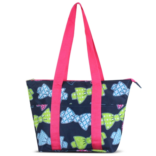 Zodaca Multicolor Bows Large Reusable Insulated Leak Resistant Lunch Tote Carry Organizer Zip Cooler Storage Bag