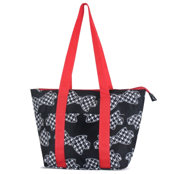 Zodaca Hounds Tooth Bows Large Reusable Insulated Leak Resistant Lunch Tote Carry Organizer Zip Cooler Storage Bag